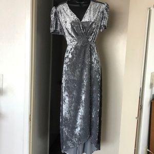 Velvet wrap dress in Gray